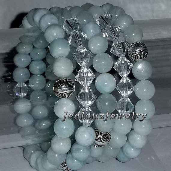 "925 Thai Sterling Silver Grade A Beryl Aquamarine 8mm Gemstone 7"" Stretch 5pc Stack Bracelet Arm Candy Set Made With Swarovski Crystal"