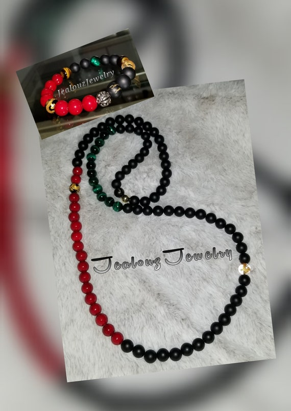 Sterling Silver Lucky Dragon African Color 10mm Healing Gold Carved Gemstone Beaded Mens Yoga Necklace Bracelet Set