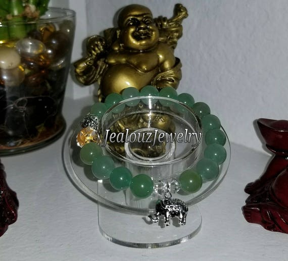 Sterling Silver 925 Lucky Elephant Infinity Knott Green Jade Wealth Healing Protection Gemstone Beaded Stretch Bracelet