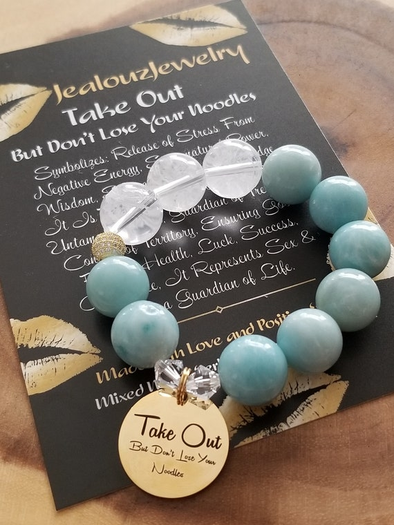 Chunky Natural 16mm Amazonite Carved Gemstone Bead Bracelet Gold Coin Take Out But Don't Lose Your Noodles