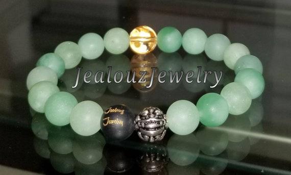 Hip Hop Positive Energy Wealth Sterling Silver Lucky Dragon Green Amazonite Gemstone Mens Beaded Stretch Yoga Bracelet
