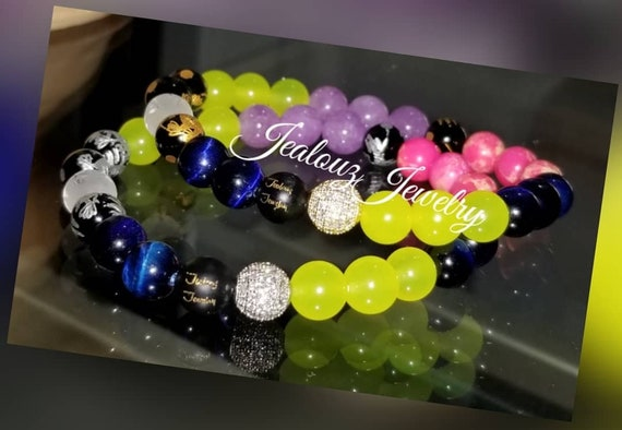 Cubic Zirconia 925 Sterling Silver Gold Lucky Dragon 8mm Neon Yellow Lavender Hot Pink Sapphire Blue Multi Color Gemstone Bracelet
