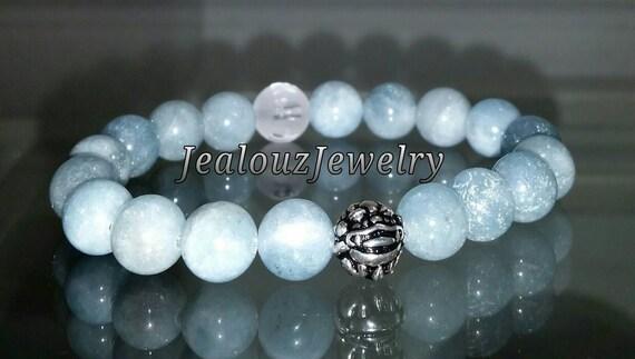"Ice Blue Beryl Aquamarine Throat Chakra Gemstone 7"" Stretch Meditation Om Yoga Bracelet 925 Sterling Silver Lucky Dragon Mens"