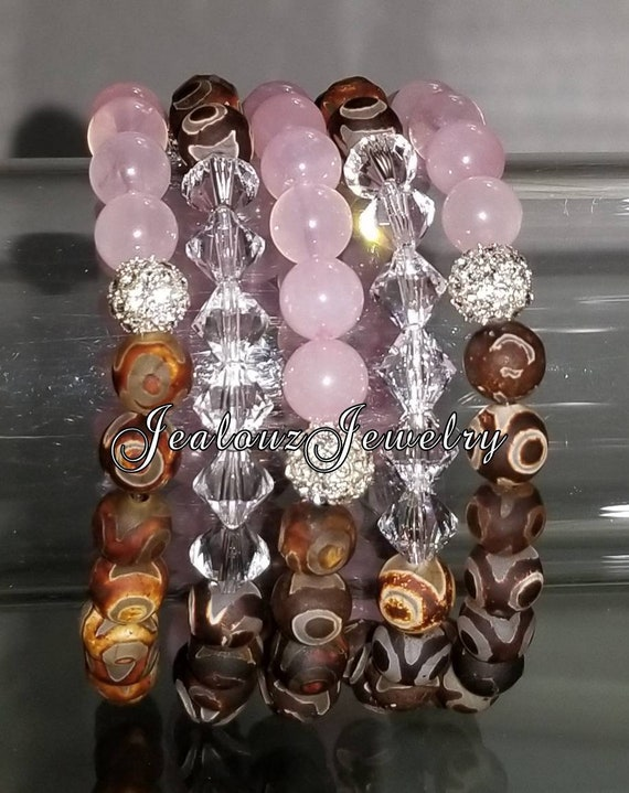 "5 Crystal Pink Jade Brown Carved Agate Gemstone 7"" Shamballa Rhinestone Stretch Bracelet Arm Candy Stack Set"
