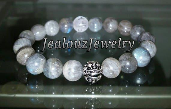 "Lt Gray Labradorite Gemstone 7"" Stretch Yoga Energy Healing Protection Meditation Bracelet 925 Sterling Silver Lucky Dragon Quartz Mens"