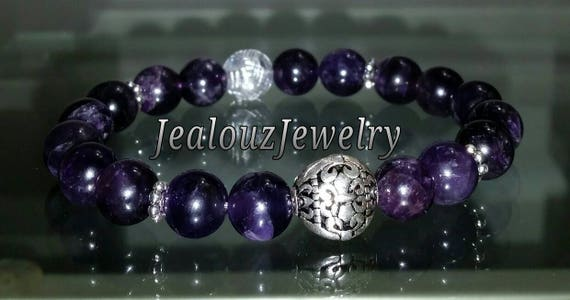 "Sterling Silver 925 Lucky Flur De Lis Purple Amethyst Healing Chakra Meditation Gemstone 7"" Beaded Stretch Bracelet"
