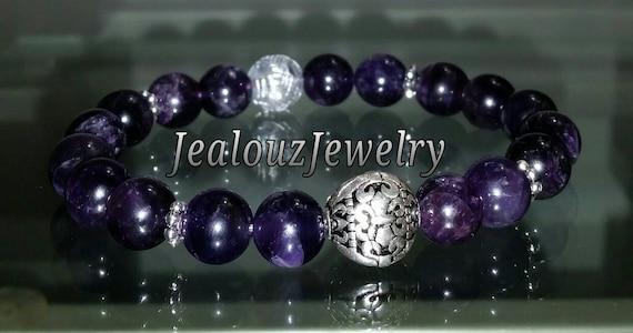 "Sterling Silver 925 Lucky Flur De Lis Purple Amethyst Healing Chakra Meditation Gemstone 7"" Beaded Stretch Bracelet"