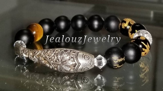 Sterling Silver Lucky Lotus Flower Koi Fish Matte Black Gold Onyx Tiger Eye Gemstone Protection Against Negative Energy Healing Bracelet