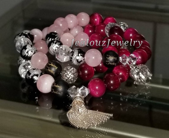 Sterling Silver Charm Ruby Pink Tiger Eye Rose Quartz Gemstone Protection Energy Passion Forgiveness Love Wealth Bracelet Set