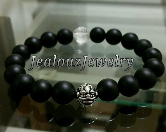 Hip Hop Protection Power Strength Sterling Silver Lucky Dragon Matte Black Gemstone Mens Beaded Stretch Yoga Bracelet