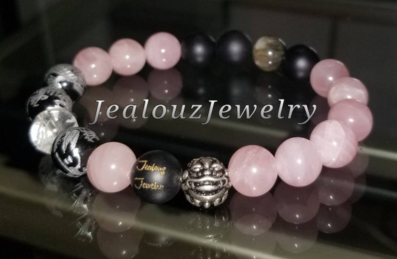 Protection Against Negative Energy Wealth Sterling Silver Gold Lucky Dragon Matte Black Onyx Pink Rose Quartz Gemstone Stretch Yoga Bracelet