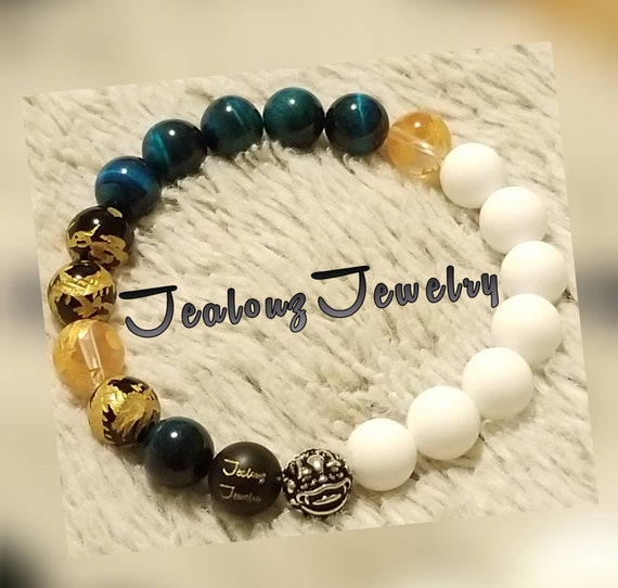 Protection Against Negative Energy Wealth Sterling Silver Lucky Dragon Turquoise Blue Tiger Eye White Jade Gemstone Stretch Yoga Bracelet