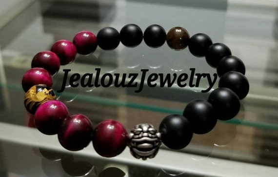 "Fuchsia Pink Tiger Eye Love Protection Matte Black Gemstone 7"" Stretch Yoga Bracelet 925 Sterling Silver Lucky Dragon"