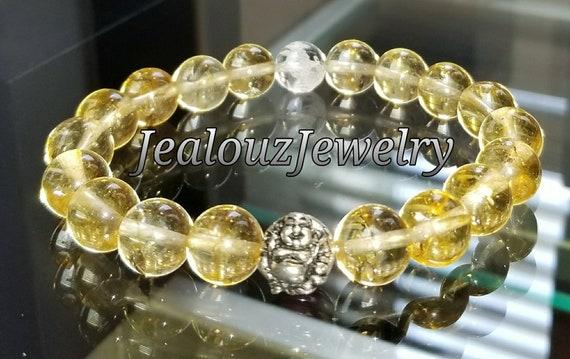 "Citrine Gemstone 7"" Stretch Yoga Bracelet 925 Sterling Silver Lucky Laughing Buddha Quartz Mens Mala"