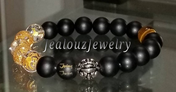 Hip Hop Protection Power Strength Sterling Silver Lucky Gold Dragon Matte Black Gemstone Mens Beaded Stretch Yoga Bracelet
