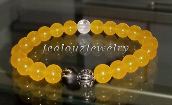 Protection Against Negative Energy Wealth Sterling Silver Lucky Dragon Matte Black Onyx Yellow Jade 8mm Gemstone Stretch Yoga Bracelet