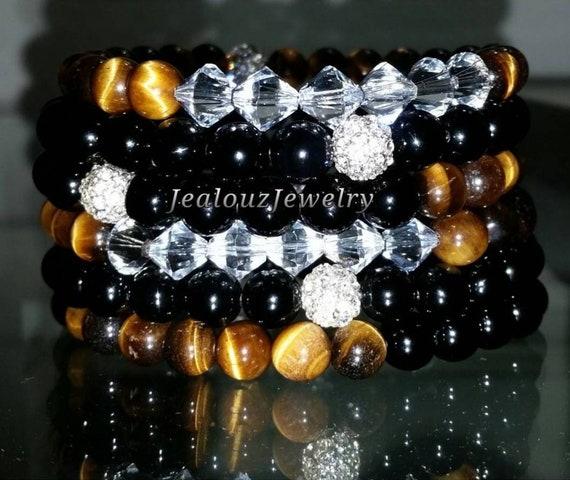 "6 Crystal Coffee Golden Brown Tiger Eye Black Onyx Gemstone 7"" Shamballa Rhinestone Stretch Bracelet Arm Candy Stack Set"