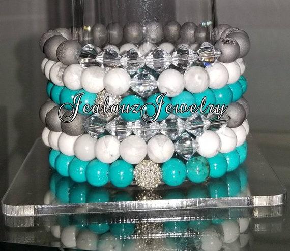 "6 Crystal Blue White Turquoise Silver Druzy 8mm Gemstone 7"" Shamballa Rhinestone Stretch Bracelet Arm Candy Stack Set"
