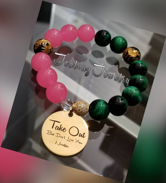 Chunky Take Out But Don't Lose Your Noodles Hot Pink Jade  Emerald Green Tiger Eye Gemstone Sterling Silver & Stainless Steel Coin Bracelet