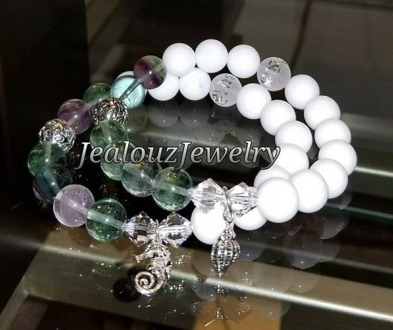 Sterling Silver 925 Lucky Endless Knott Sea Green Rainbow Florite White Jade Guidance Gemstone Beaded Stretch Seahorse Seashell Bracelet Set