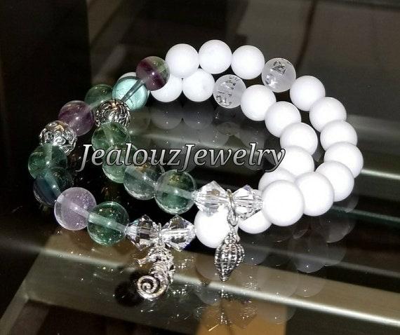 Sterling Silver 925 Lucky Endless Knott Sea Green Rainbow Florite White Jade Guidance Gemstone Beaded Stretch Seahorse Seashell Bracelet Set