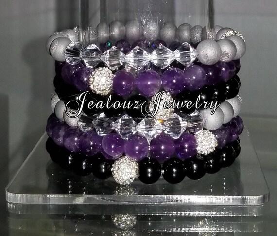 "6 Crystal Purple Amethyst Black Onyx Silver Druzy 8mm Gemstone 7"" Shamballa Rhinestone Stretch Bracelet Arm Candy Stack Set"