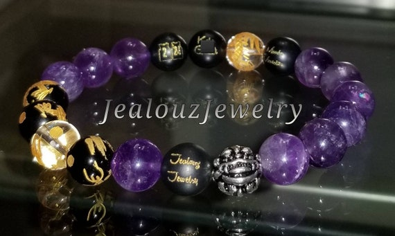 Carved Gold #2 #24 Jersey Sterling Silver Lucky Dragon Matte Black Mamba Mentality Onyx Purple Healing Amethyst Yoga Gemstone Bracelet