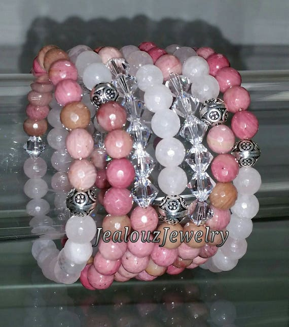 "7 Sterling Silver Pink Rhodonite Rose Quartz Gemstone Beaded 7"" Stretch Bracelet Set"