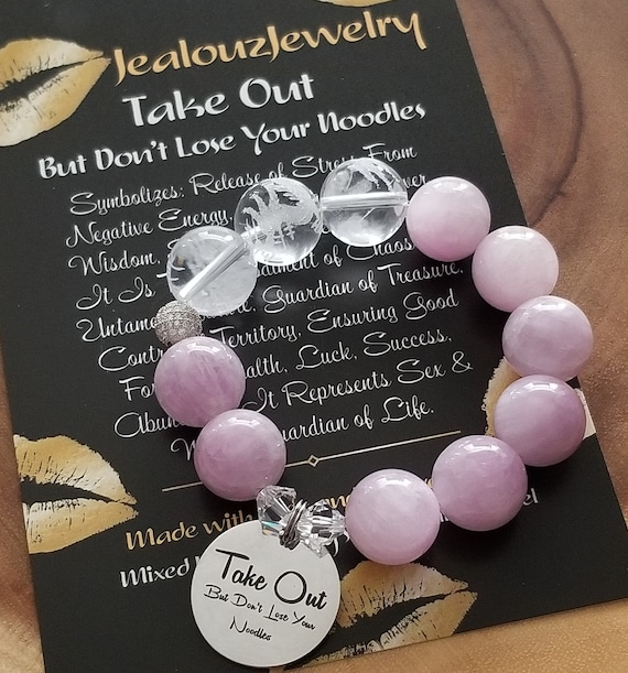 Chunky Natural 16mm Kunzite Carved Gemstone Bead Bracelet Silver Coin Take Out But Don't Lose Your Noodles