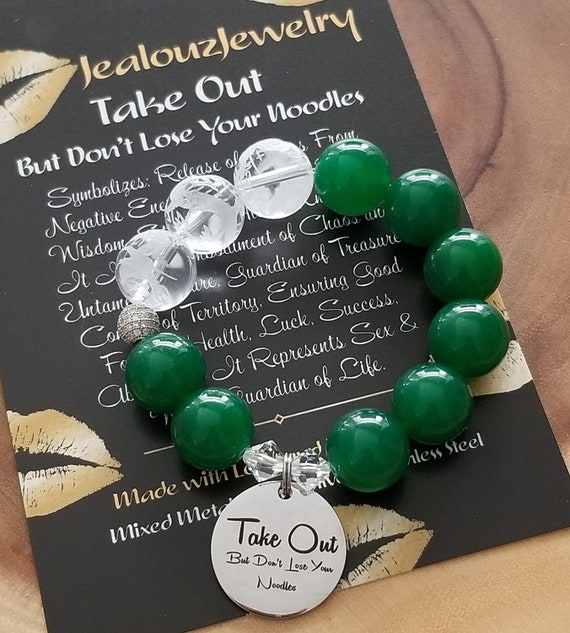 Chunky Natural 16mm Jade Carved Gemstone Bead Bracelet Silver Coin Take Out But Don't Lose Your Noodles