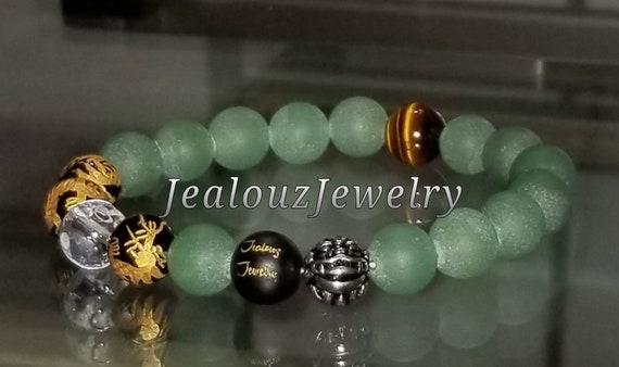 "Positive Energy Wealth Sterling Silver Lucky Dragon Matte Black Green Jade Tiger Eye Gemstone Hip Hop Mens 7"" Beaded Stretch Yoga Bracelet"