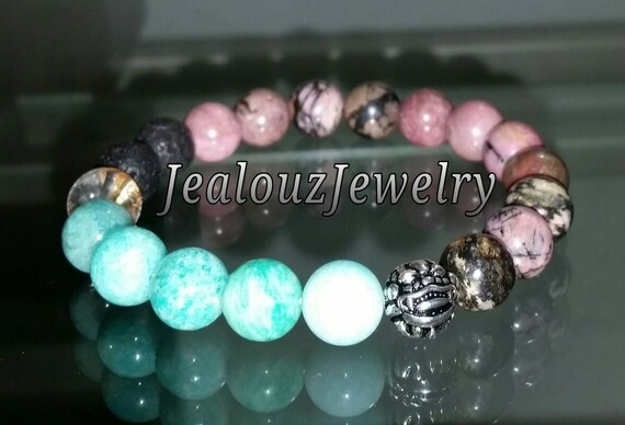 "Healing Energy Forgiveness Love Amazonite Rhodonite Gemstone 7"" Stretch Yoga Bracelet 925 Sterling Silver Lucky Dragon"