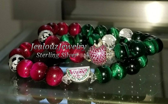 Sterling Silver Apple Watermelon Charm Ruby Pink Emerald Green Tiger Eye Gemstone Passion Forgiveness Love Wealth Bracelet Set