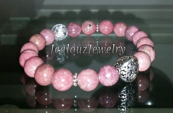 "Sterling Silver 925 Lucky Flur De Lis Pink Rhodonite Gemstone 7"" Beaded Stretch Love Forgiveness Meditation Bracelet"