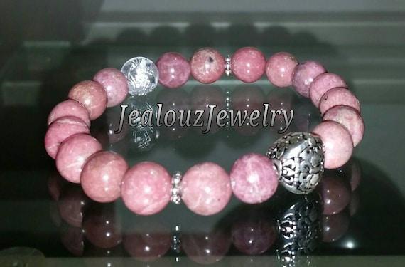 "Sterling Silver 925 Lucky Flur De Lis Pink Rhodonite Gemstone 7"" Beaded Stretch Love Forgiveness Meditation Bracelet"