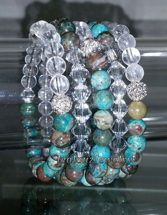 "5 Crystal Ocean Turquoise Blue Clear Quartz Jasper Gemstone 7"" Rhinestone Stretch Bracelet Arm Candy Stack Set"