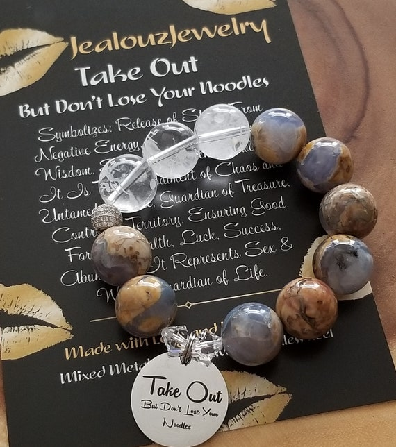Chunky Natural 16mm Chalcedony Carved Gemstone Bead Bracelet Silver Coin Take Out But Don't Lose Your Noodles