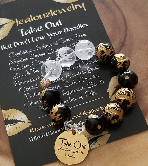Chunky Natural 16mm Black Gold Onyx Carved Gemstone Bead Bracelet Take Out But Don't Lose Your Noodles