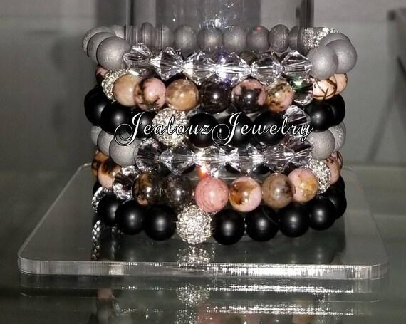 "6 Crystal Pink Rhodonite Matte Black Onyx Silver Druzy 8mm Gemstone 7"" Shamballa Rhinestone Stretch Bracelet Arm Candy Stack Set"