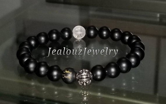 Protection Against Negative Energy Wealth Sterling Silver Lucky Dragon Matte Black Onyx 8mm Gemstone Stretch Yoga Bracelet