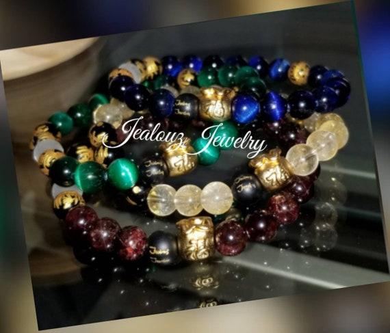 24kGold Sterling Silver Money Bag Lucky Wealth Emerald Green Sapphire Blue Tiger Eye Citrine Burgandy Garnet Red 8mm Gemstone Bracelet