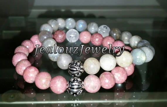"Pink Rhodonite Gray Labradorite Gemstone 7"" Stretch Yoga Bracelet 925 Sterling Silver Lucky Dragon Set"