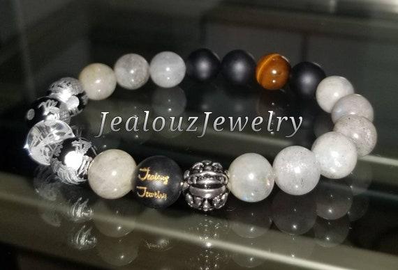Protection Against Negative Energy Wealth Sterling Silver Lucky Dragon Matte Black Onyx Labradorite Gemstone Mens Stretch Yoga Bracelet