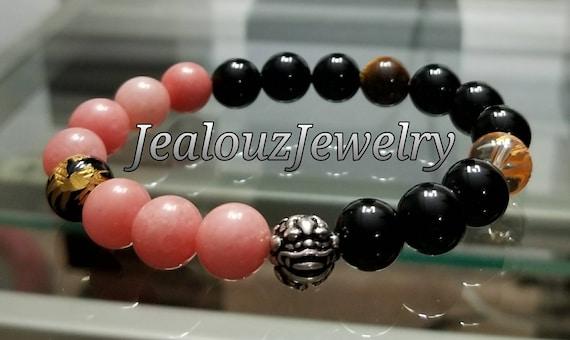 "Salmon Jade Black Onyx Chakra Gemstone 7"" Stretch Meditation Yoga Bracelet 925 Sterling Silver Lucky Dragon Mens"
