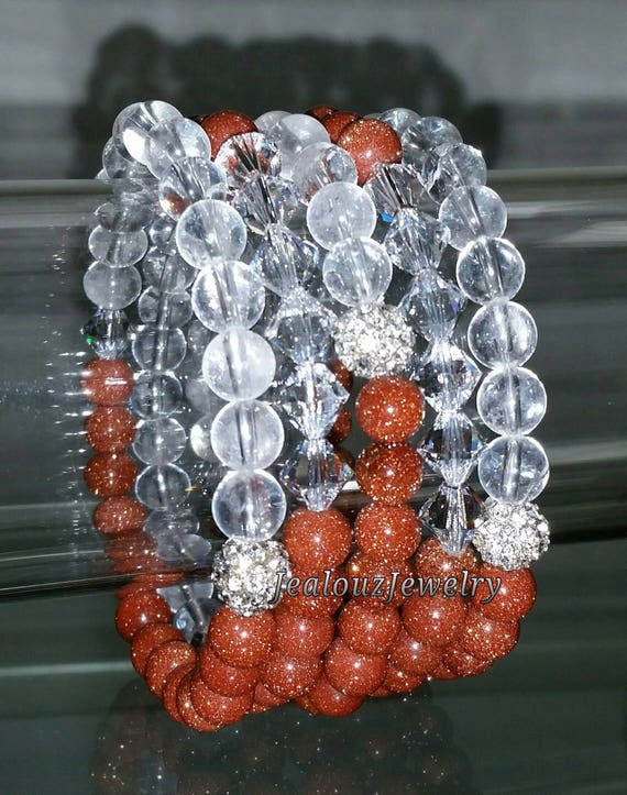 "5 Crystal Sparkly Rusty Brown Clear Quartz Sandstone Goldstone Gemstone 7"" Rhinestone Stretch Bracelet Arm Candy Stack Set"