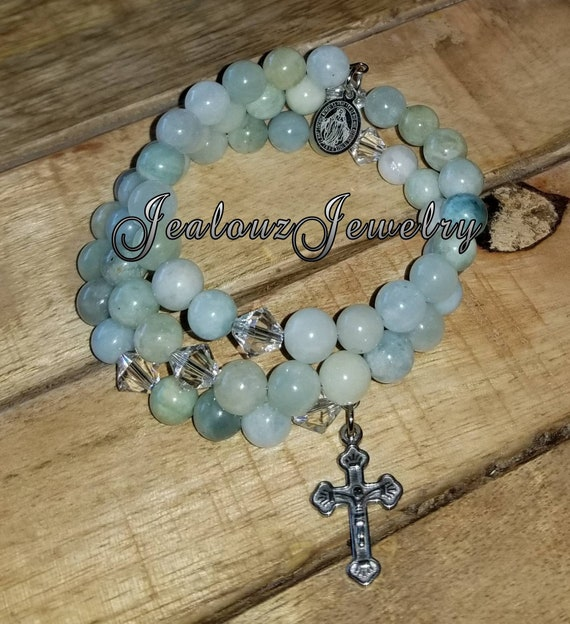 Stainless Steel Healing Mixed Aquamarine 8mm Gemstone Bead Rosary Wrap Bracelet