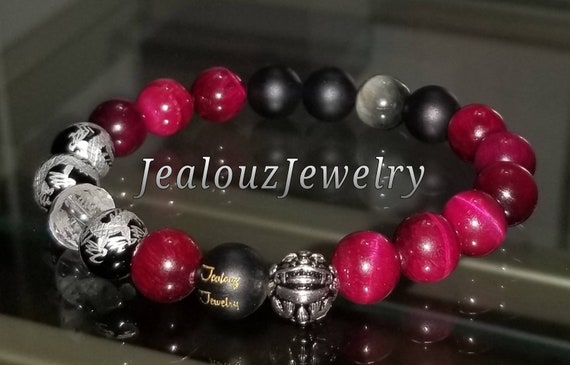 Protection Against Negative Energy Wealth Sterling Silver Lucky Dragon Matte Black Onyx Pink Tiger Eye Gemstone Stretch Yoga Bracelet