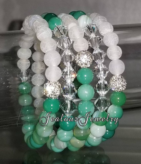"5 Crystal  Frosted White Multicolor Peacock Green Agate Gemstone 7"" Shamballa Rhinestone Stretch Bracelet Arm Candy Stack Set"