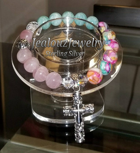Sterling Silver 925 Lucky Infinity Knott Rose Quartz Lt Turquoise Amazonite Chakra Gemstone Beaded Stretch Mala Meditation Cross Bracelet