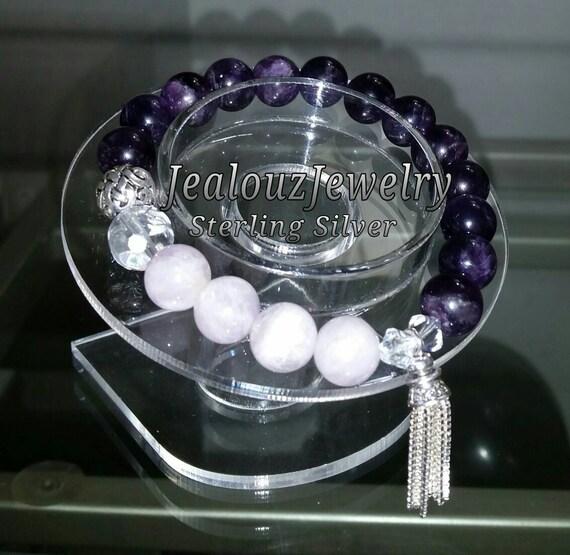 Sterling Silver 925 Lucky Endless Knott Purple Lavender Amethyst Crown Chakra Gemstone Beaded Stretch Mala Meditation Tassel Bracelet